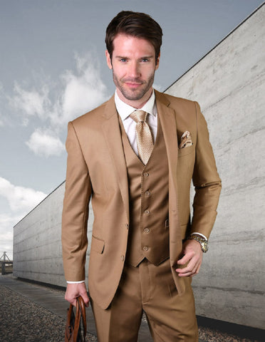 Mens 2 Button Modern Fit Vested Wool Suit in Caramel