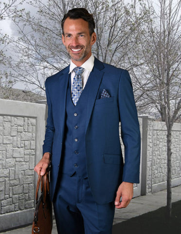 Mens 2 Button Modern Fit Vested Wool Suit in French Blue