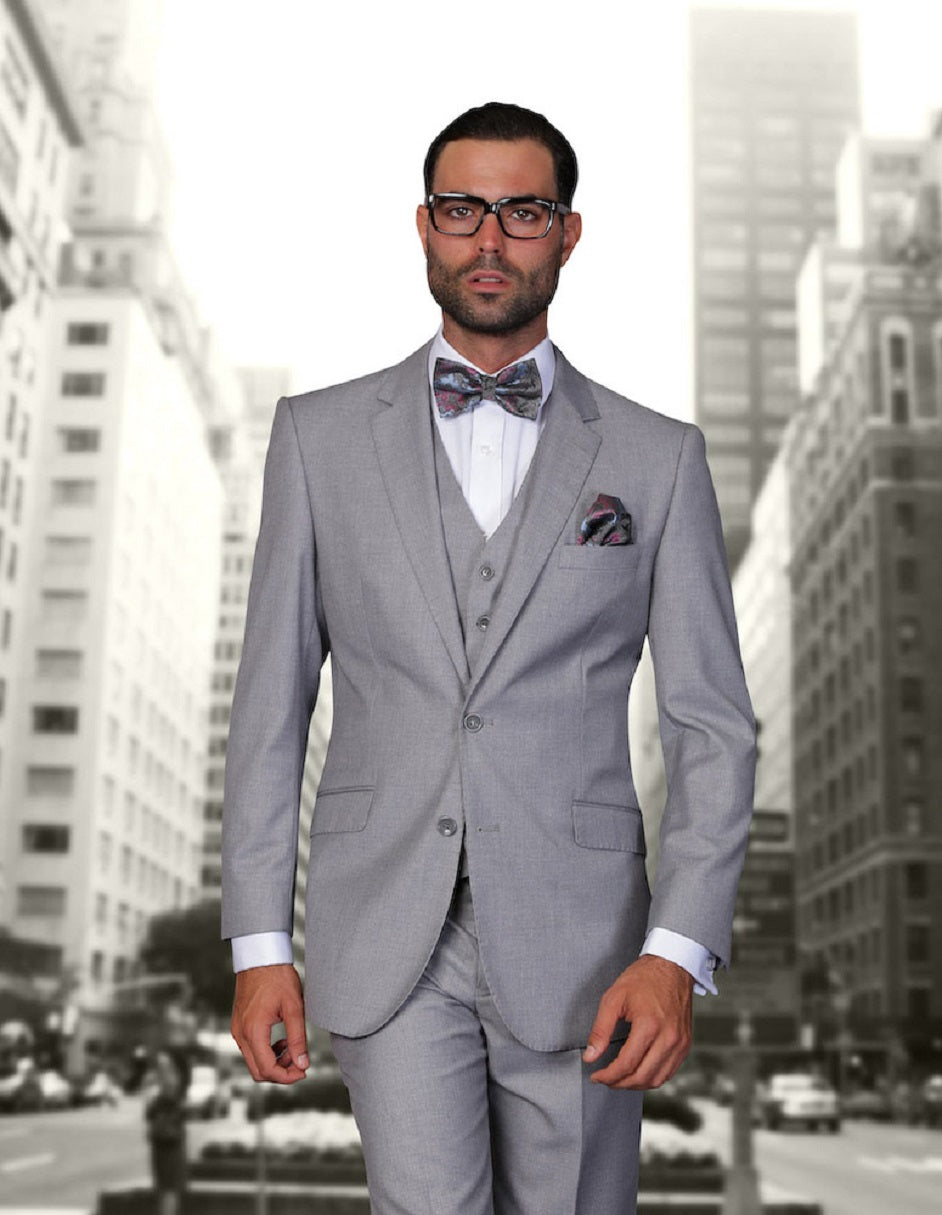 Mens 2 Button Modern Fit Vested Wool Suit in Grey