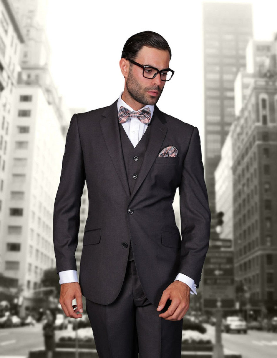 Mens 2 Button Modern Fit Vested Wool Suit in Heather Charcoal
