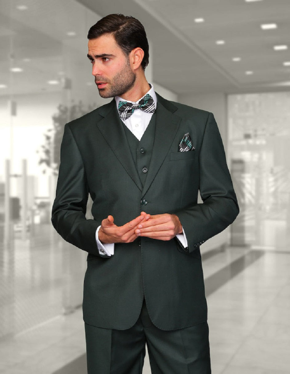 Mens 2 Button Modern Fit Vested Wool Suit in Hunter Green