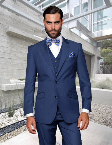 Mens 2 Button Modern Fit Vested Wool Suit in Indigo Blue