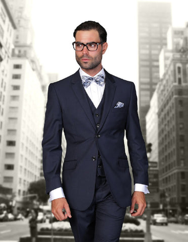 Mens 2 Button Modern Fit Vested Wool Suit in Navy