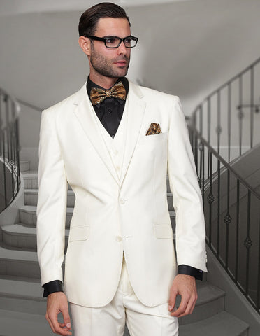 Mens 2 Button Modern Fit Vested Wool Suit in Ivory