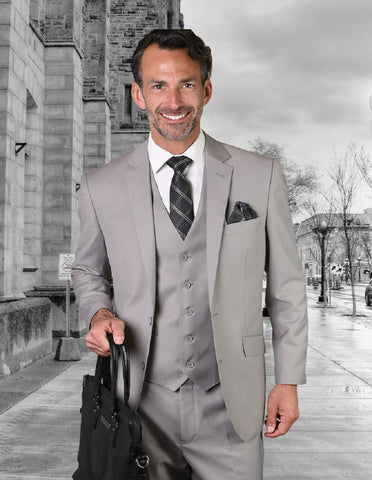 Mens 2 Button Modern Fit Vested Wool Suit in Platinum
