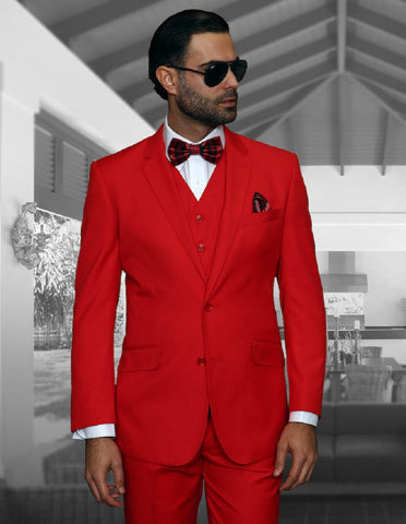 Mens 2 Button Modern Fit Vested Wool Suit in Red