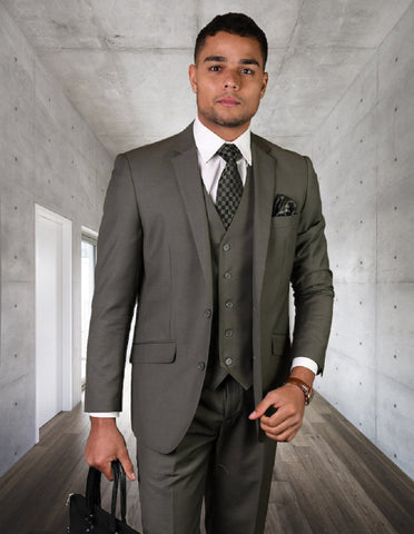 Mens 2 Button Modern Fit Vested Wool Suit in Sage Green