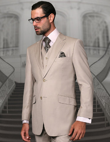 Mens 2 Button Modern Fit Vested Wool Suit in Sand
