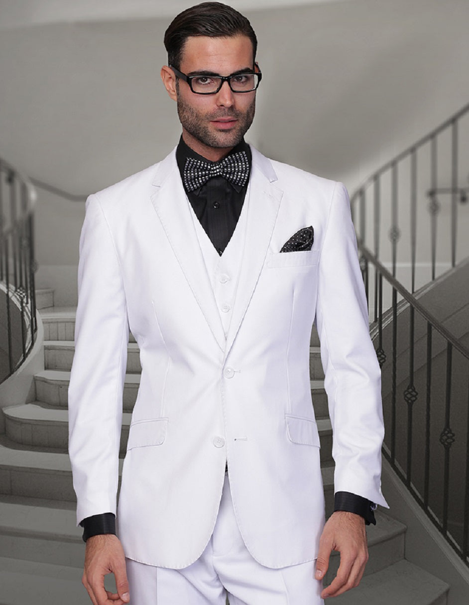 Mens 2 Button Modern Fit Vested Wool Suit in White