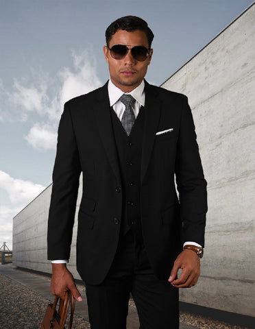 Mens 2 Button Modern Fit Vested Pick Stich Suit in Black