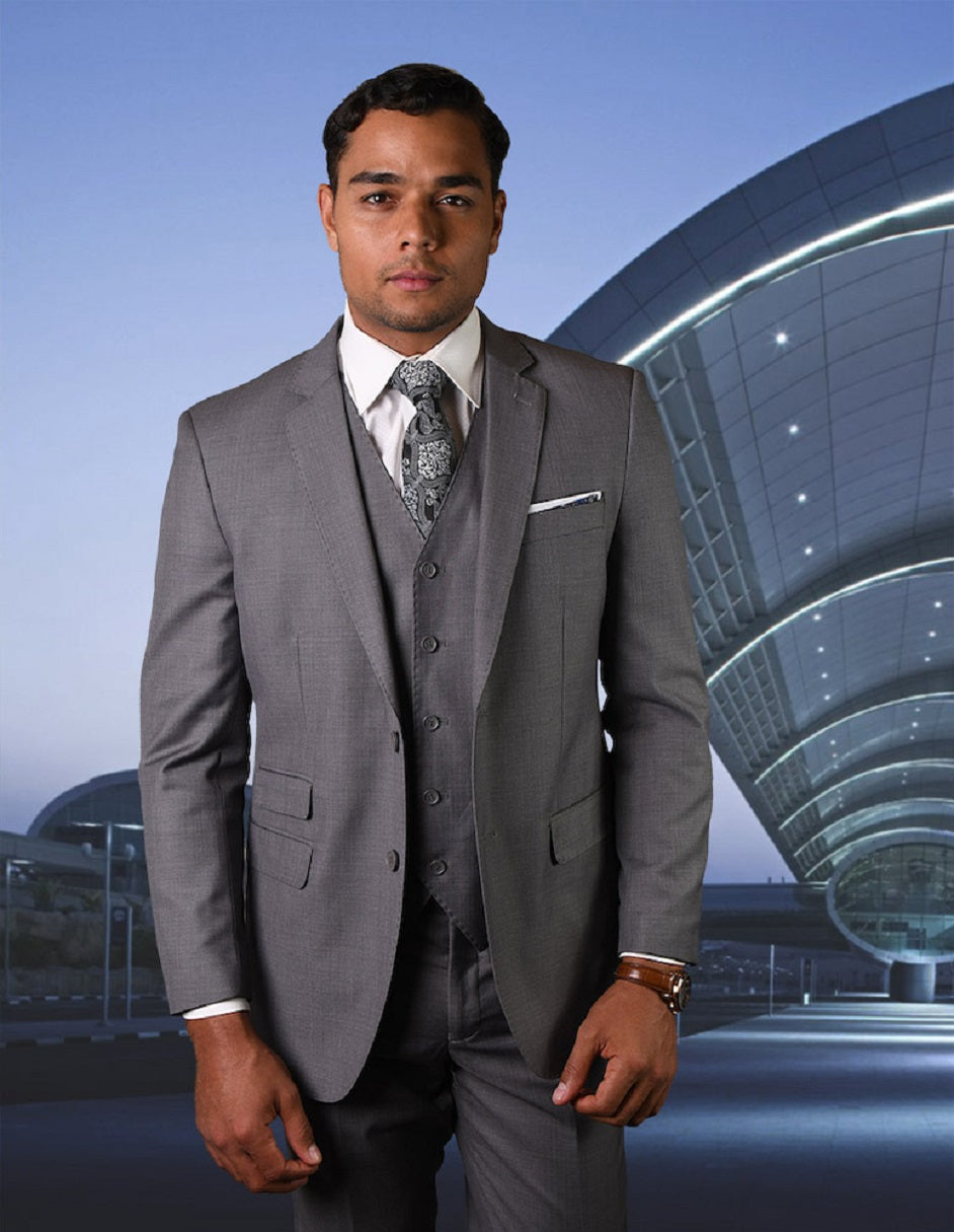 Mens 2 Button Modern Fit Vested Pick Stich Suit in Heather Grey