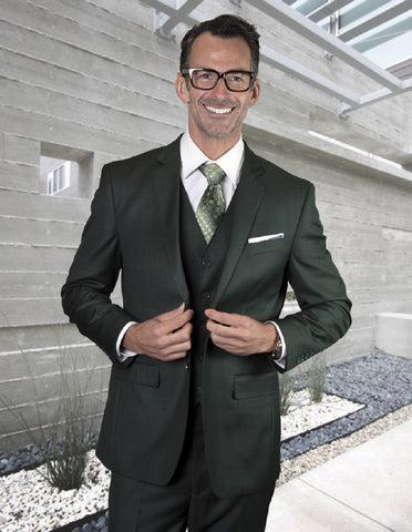Mens 2 Button Modern Fit Vested Pick Stich Suit in Hunter Green
