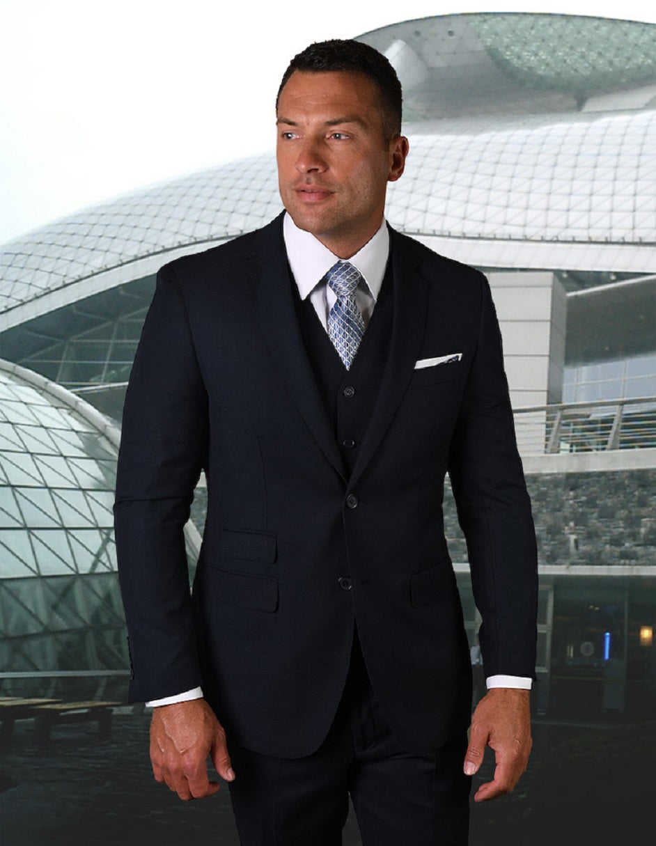 Mens 2 Button Modern Fit Vested Pick Stich Suit in Navy Blue
