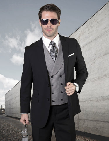 Mens 2 Button Notch Lapel Wool Suit With Double Breasted Shawl Vest in Black
