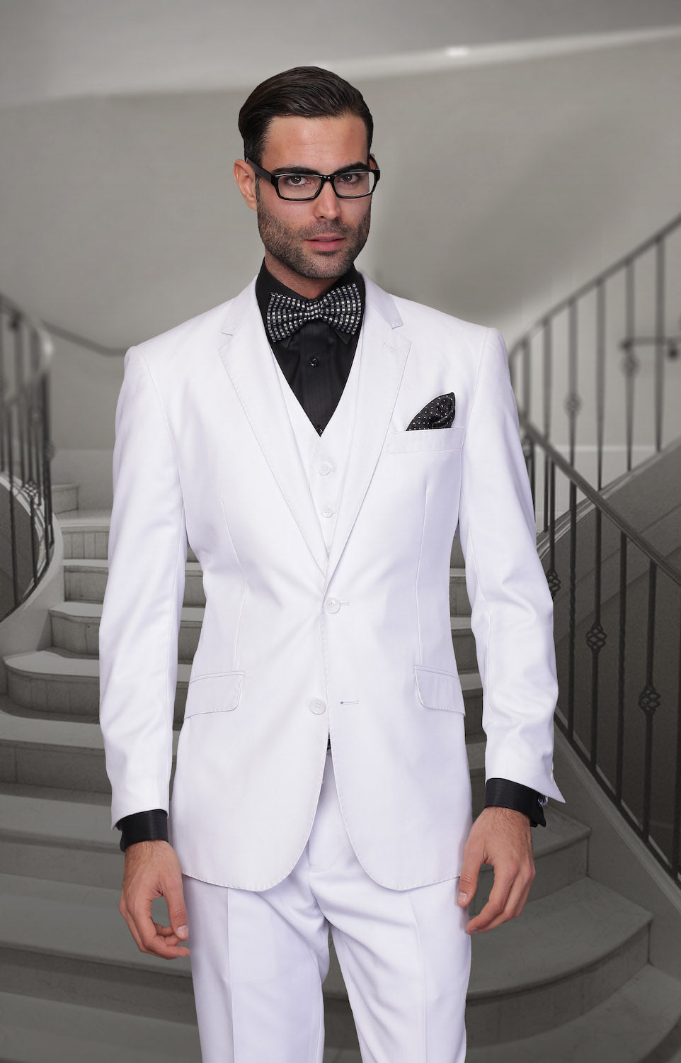 Mens High Quality 2 Button Wool Suit in White