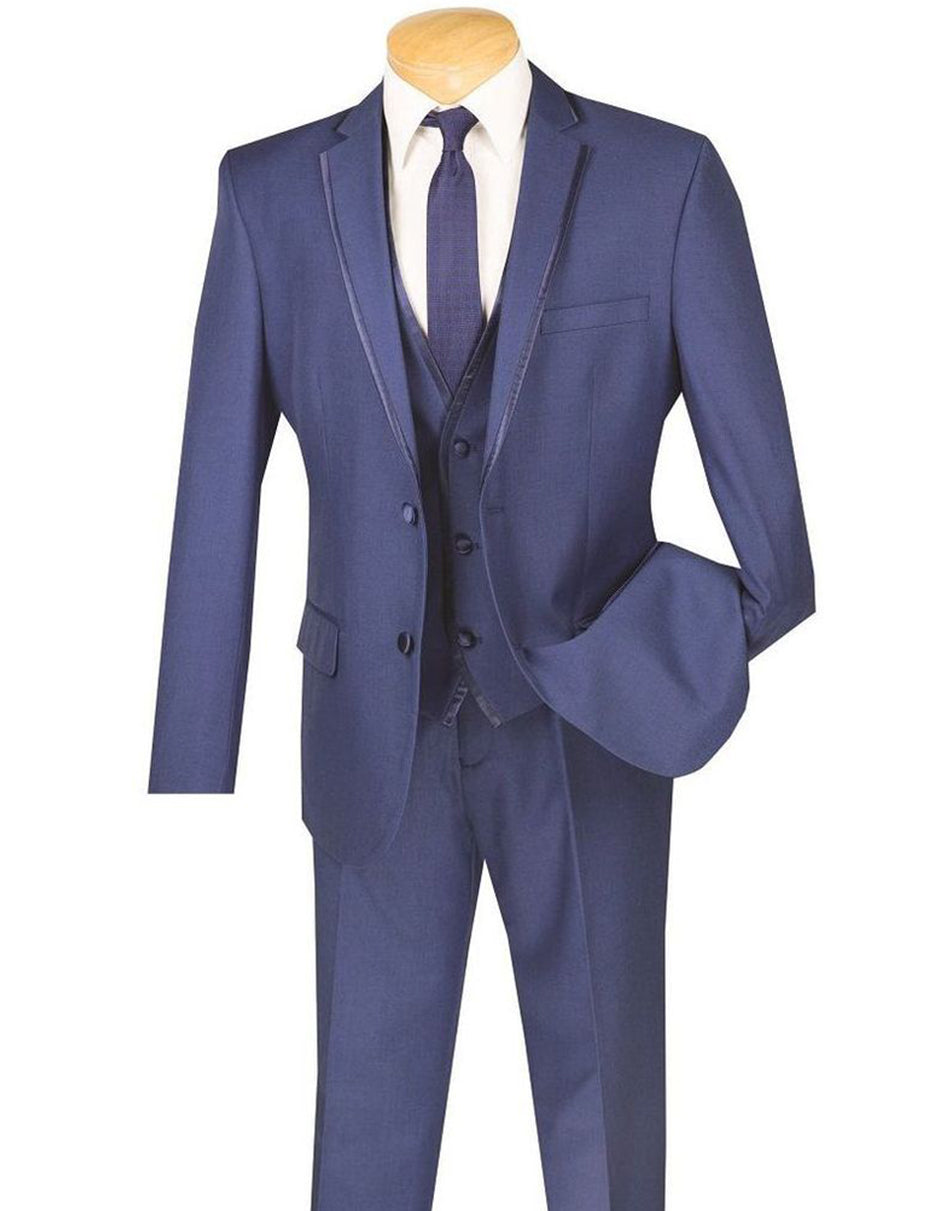 Mens 3pc Vested Slim Fit 2 Button Tuxedo in Blue with Satin Trim