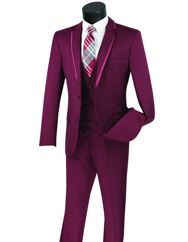 Mens 3pc Vested Slim Fit 2 Button Tuxedo in Burgundy with Satin Trim