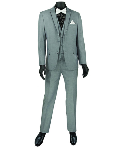 Mens 3pc Vested Slim Fit 2 Button Wedding Tuxedo in Grey with Satin Trim