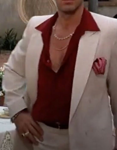Mens Al Pacino Scarface Package | White Suit + Red Shirt
