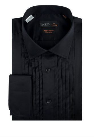 Mens Tiglio Black Laydown Tuxedo Shirt