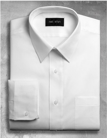 Mens Classic 100% Cotton Spread Collar Dress Shirt in White