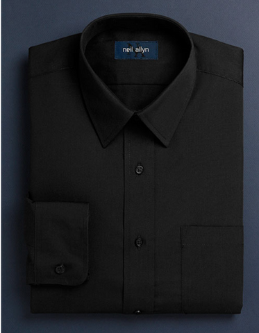 Mens Classic 100% Cotton Spread Collar Dress Shirt in Black