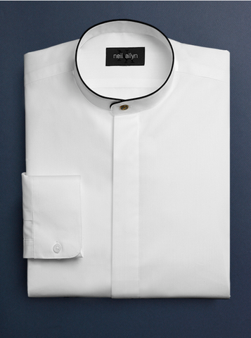 Mens Cotton Black Banded Mandarin Shirt in White