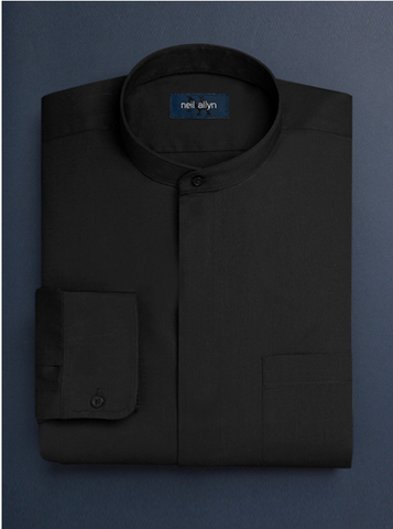 Mens Cotton French Front Mandarin Shirt in Black
