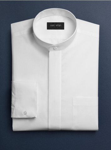 Mens Cotton French Front Mandarin Shirt in White