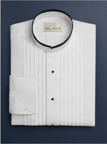 Mens Cotton Black Banded Pleat Front Mandarin Shirt in White