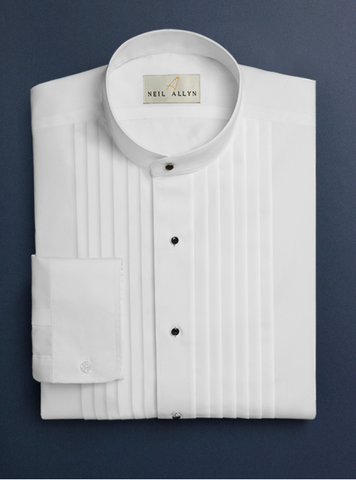 Mens Cotton Pleat Front Mandarin Shirt in White