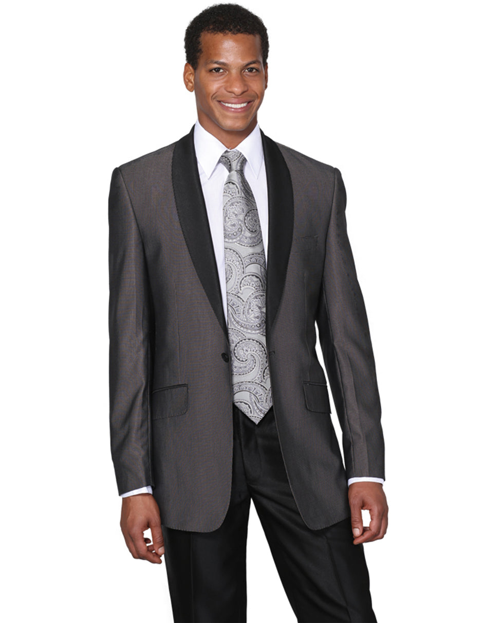Mens 1 Button Charcoal Shawl Tuxedo with Black Pants