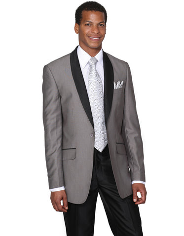 Mens 1 Button Grey Shawl Tuxedo with Black Pants