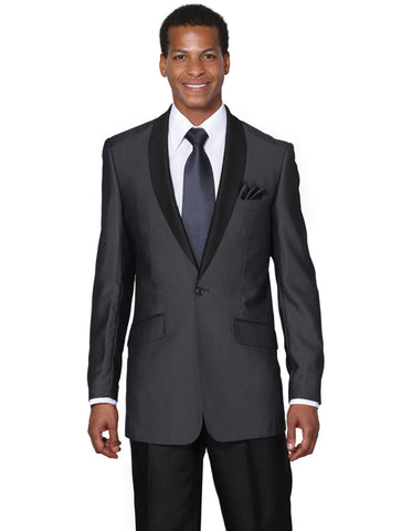 Mens 1 Button Navy Shawl Tuxedo with Black Pants