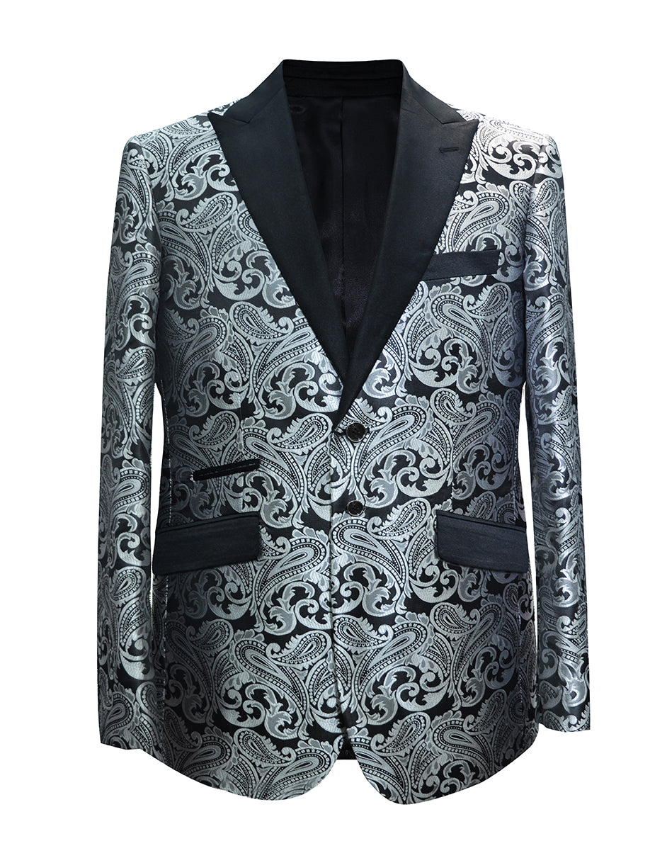 Mens Paisley Floral Tuxedo Jacket in Charcoal Grey & Black