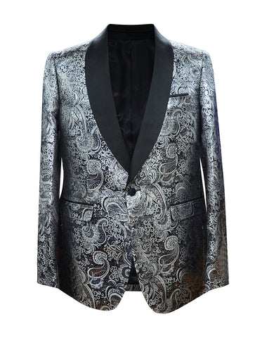 Mens Paisley Floral Shawl Tuxedo Jacket in Silver & Black
