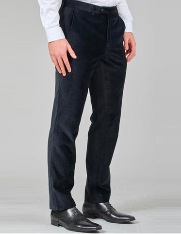 Slim Fit Velvet Pants in Black