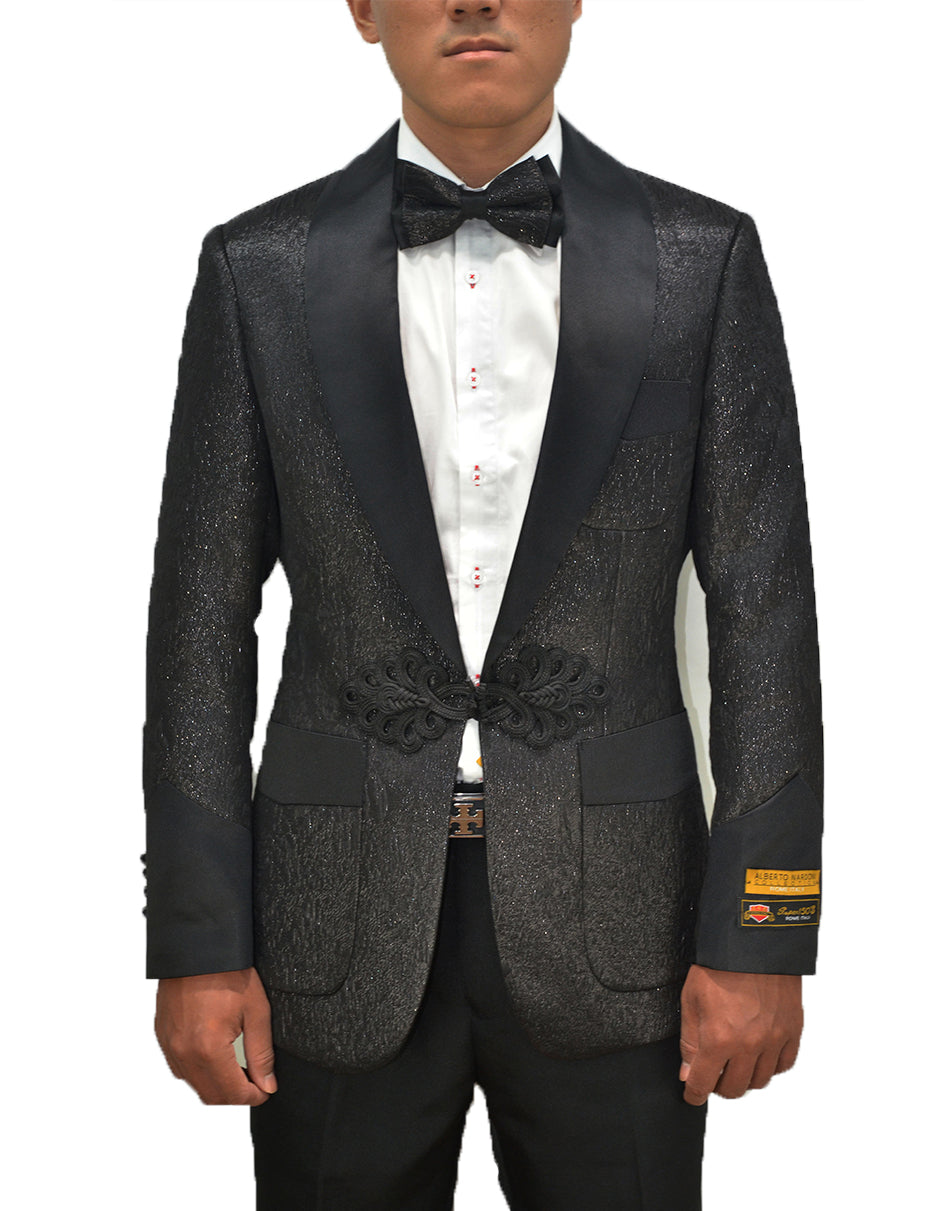 Mens Chinese Closure Smoking Jacket in Black Sparkle