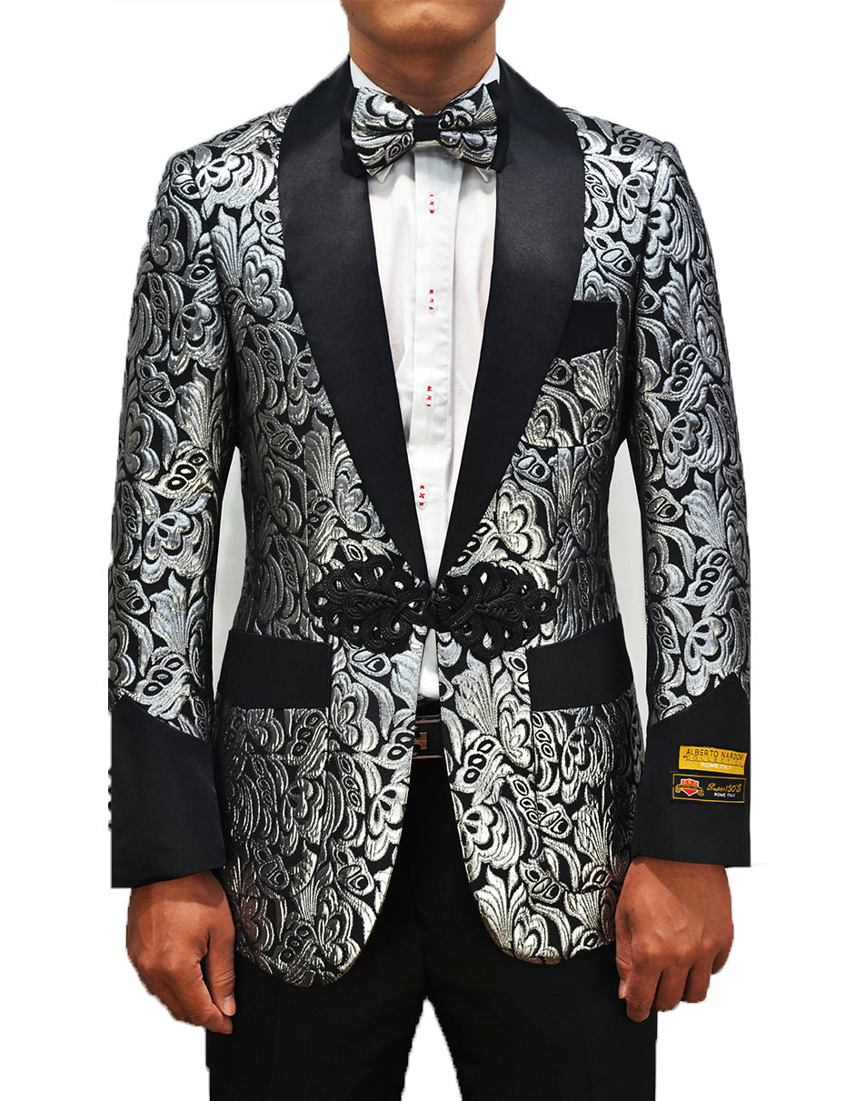 Mens Chinese Closure Smoking Jacket in Silver Paisley