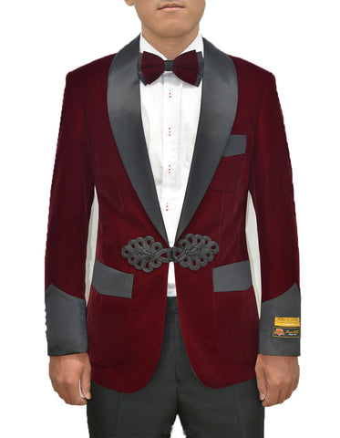 Mens Chinese Closure Smoking Jacket in Burgundy Velvet