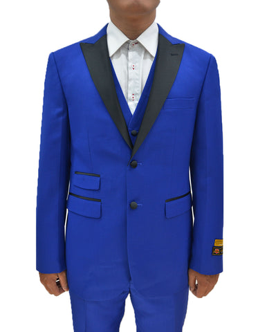 Mens 2 Button Peak Lapel Vested Prom Tuxedo in Royal Blue