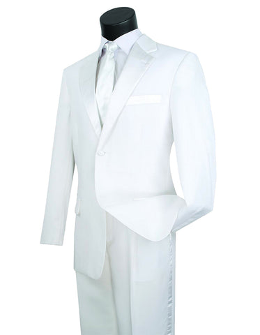 Mens Affordable 2 Button Classic Tuxedo in White
