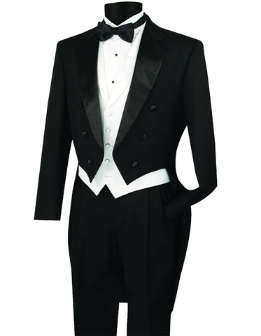 Mens 3pc Vested Classic Tail Tuxedo in Black