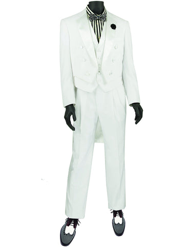 Mens 3pc Vested Classic Tail Tuxedo in White
