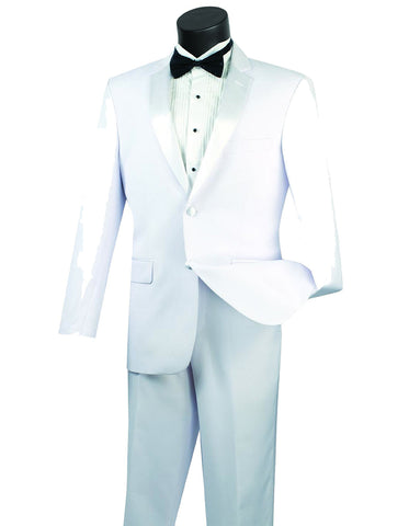 Mens Modern Fit Classic 2 button Tuxedo in White