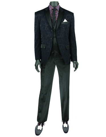 Mens 2 Button Paisley Tuxedo in Navy/Black