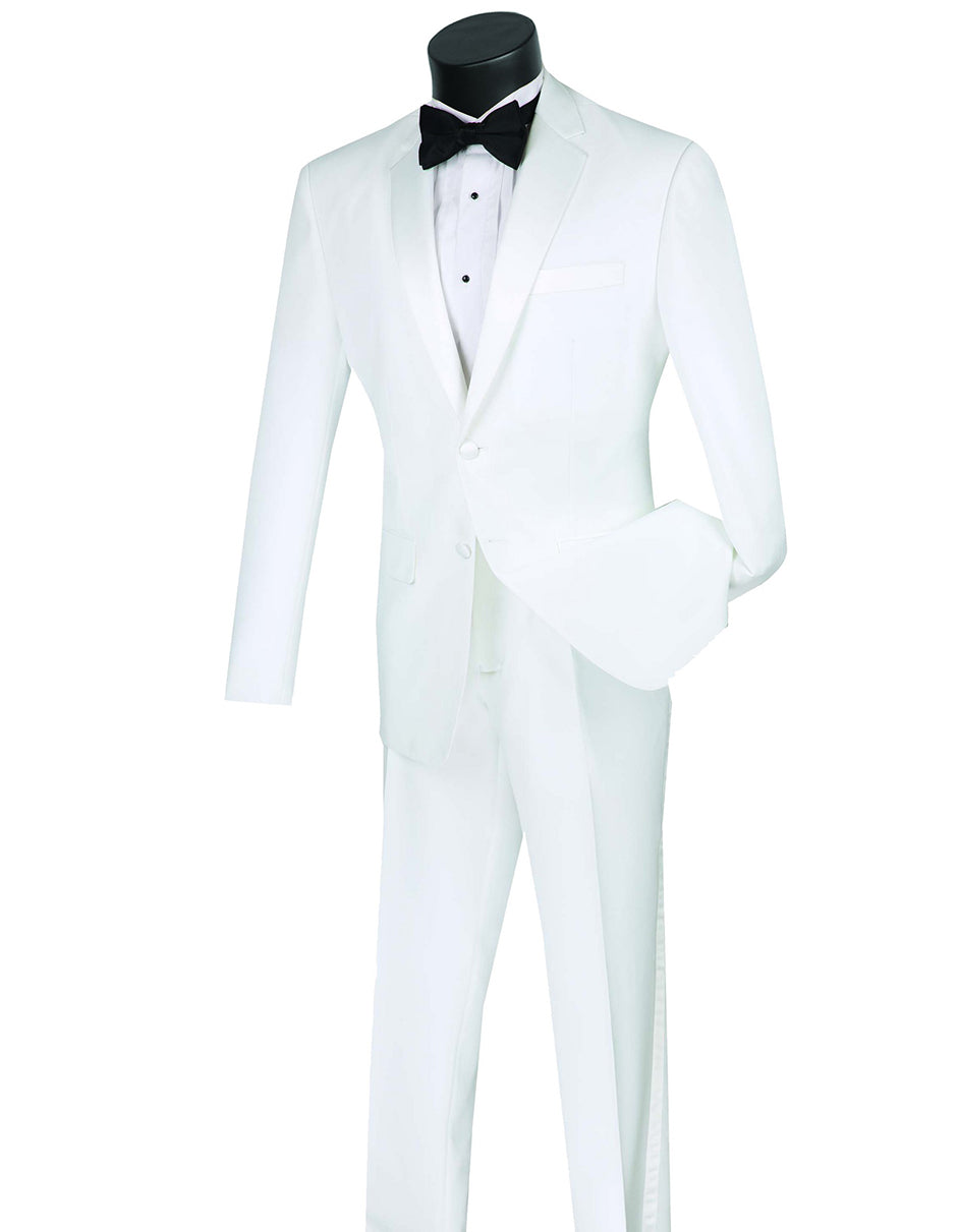 Mens Affordable Slim Fit 2 Button Tuxedo in White