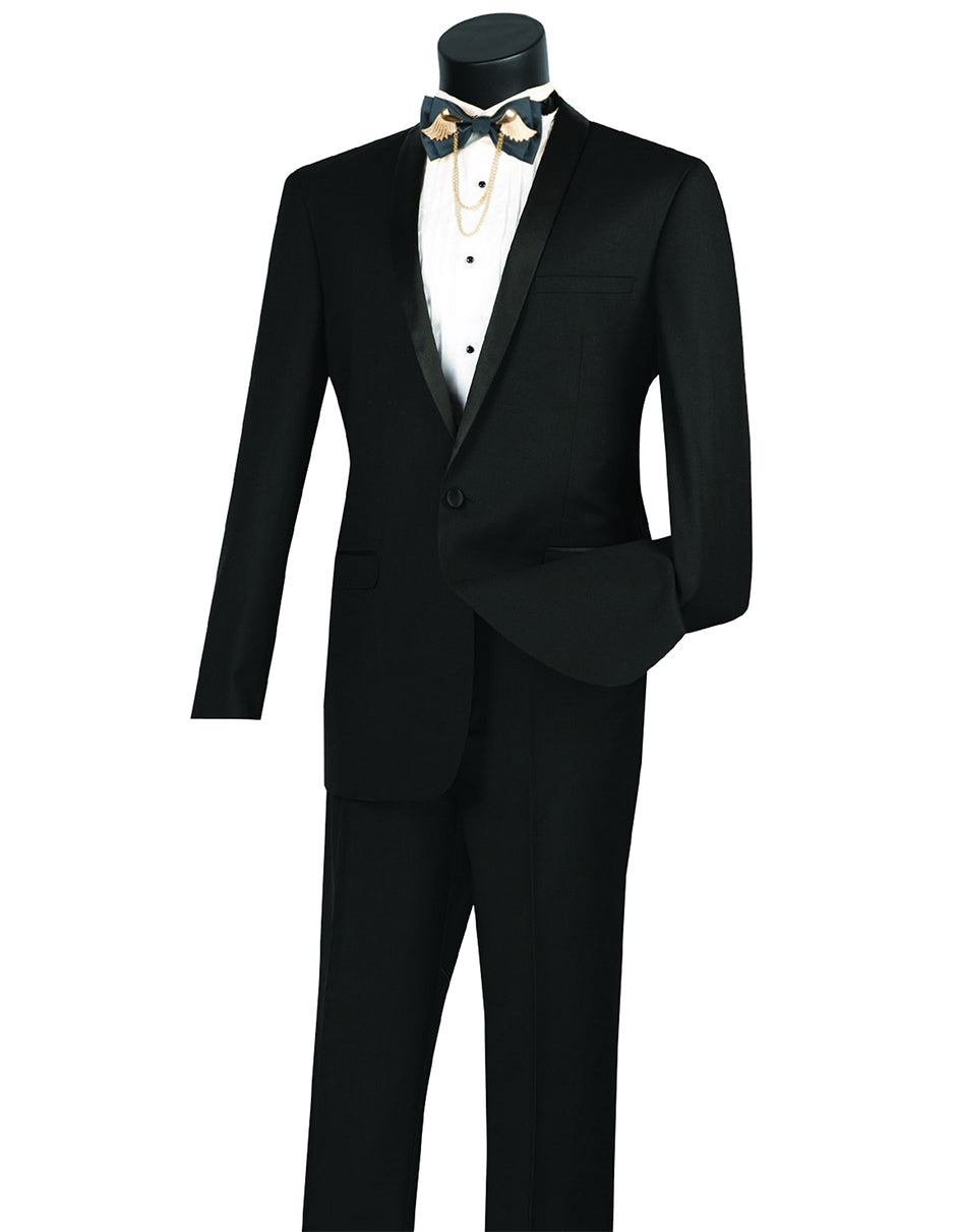 Mens Slim Fit Shawl Tuxedo in Black
