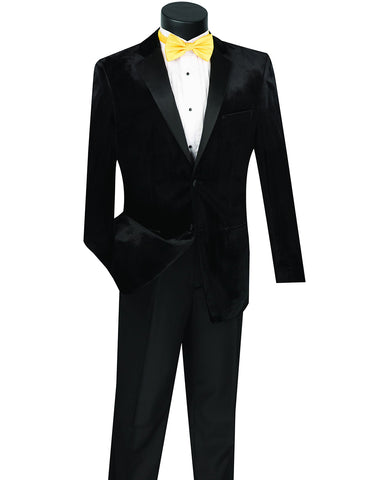Mens Velvet Notch Tuxedo in Black