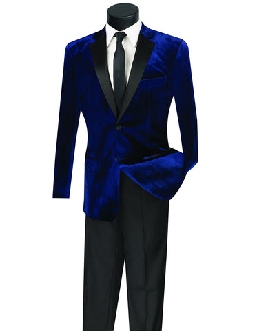 Mens Velvet Notch Tuxedo in Navy Blue